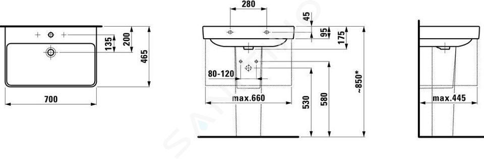 Laufen Pro S - Umyvadlo, 700x465 mm, 3 otvory pro baterii, s LCC, bílá H8109674001081