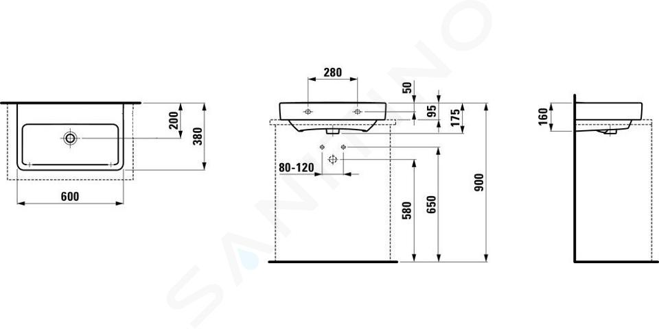 Laufen Pro S - Umyvadlo Compact, 600x380 mm, bez otvoru pro baterii, bez přepadu, bílá H8179590001421