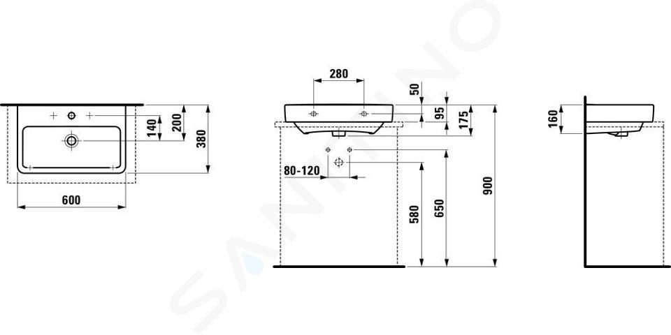 Laufen Pro S - Umyvadlo Compact, 600x380 mm, 1 otvor pro baterii, bez přepadu, bílá H8179590001561