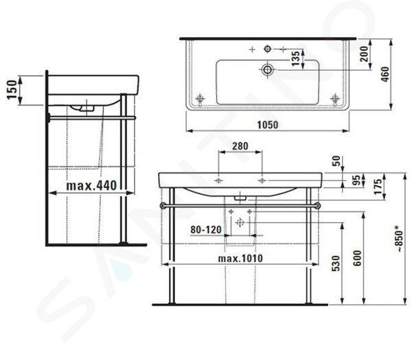 Laufen Pro S - Umyvadlo, 1050x460 mm, 3 otvory pro baterii, bílá H8139660001081