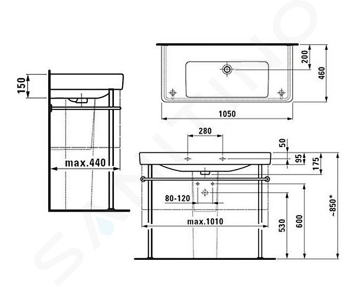 Laufen Pro S - Umyvadlo, 1050x460 mm, bez otvoru pro baterii, bílá H8139660001091