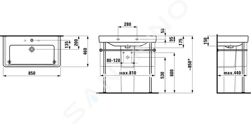 Laufen Pro S - Umyvadlo, 850x460 mm, 3 otvory pro baterii, s LCC, bílá H8139654001081