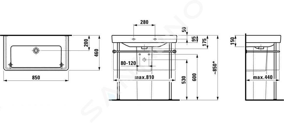 Laufen Pro S - Umyvadlo, 850x460 mm, bez otvoru pro baterii, s LCC, bílá H8139654001091