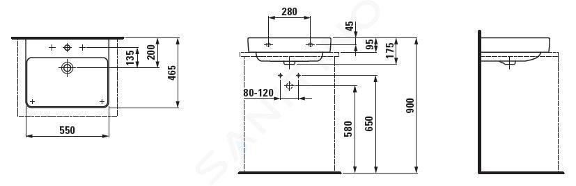 Laufen Pro S - Umyvadlo, 550x465 mm, 3 otvory pro baterii, s LCC, bílá H8169624001081