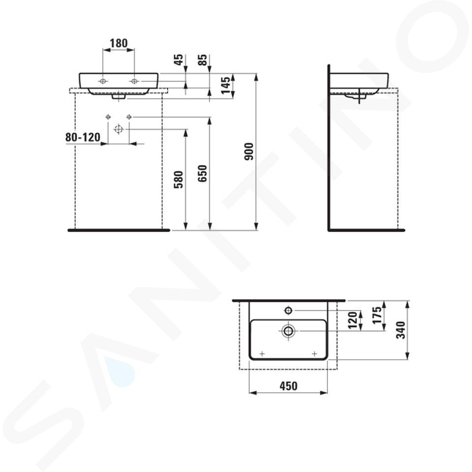 Laufen Pro S - Umývátko, 450x340 mm, 1 otvor pro baterii, s LCC, bílá H8169614001041