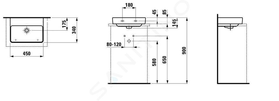 Laufen Pro S - Umývátko, 450x340 mm, bez otvoru pro baterii, bez přepadu, s LCC, bílá H8169614001421