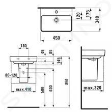 Laufen Pro S - Umývátko, 450x340 mm, 1 otvor pro baterii, bez přepadu, s LCC, bílá H8169614001561
