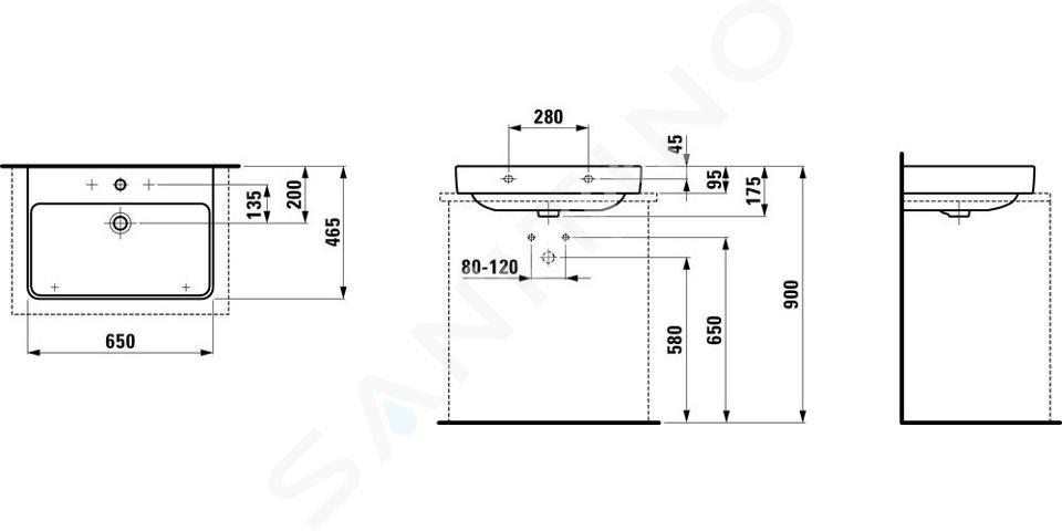 Laufen Pro S - Umyvadlo, 650x465 mm, 3 otvory pro baterii, bílá H8169640001081