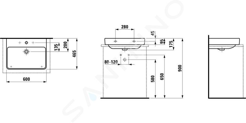 Laufen Pro S - Umyvadlo, 600x465 mm, 1 otvor pro baterii, bez přepadu, bílá H8169630001561