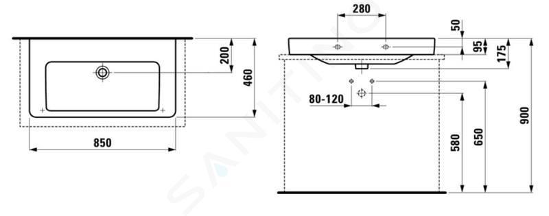 Laufen Pro S - Umyvadlo, 850x460 mm, bez otvoru pro baterii, bílá H8169650001091