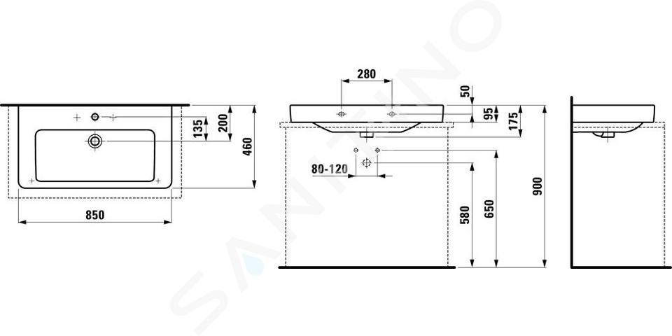 Laufen Pro S - Umyvadlo, 850x460 mm, 3 otvory pro baterii, s LCC, bílá H8169654001081