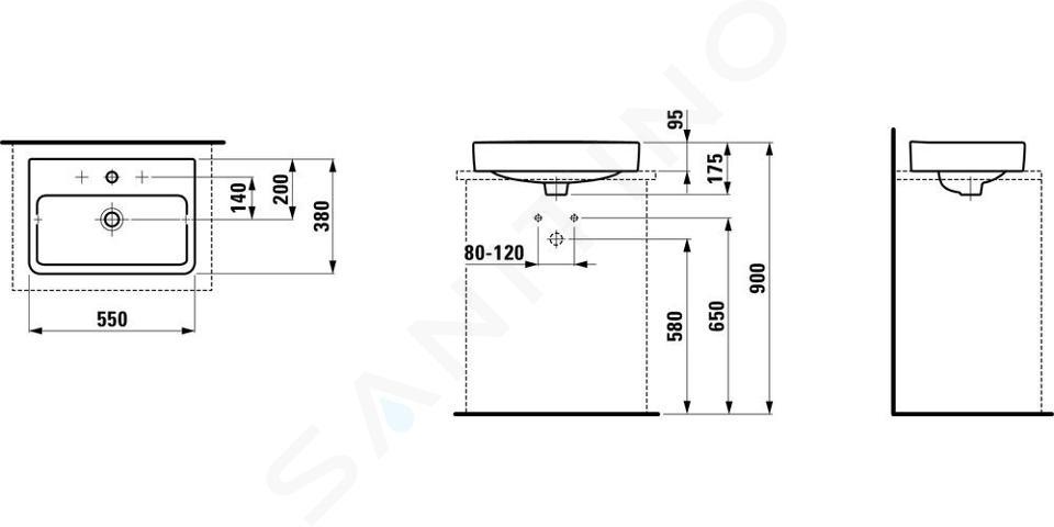 Laufen Pro S - Umyvadlo, 550x380 mm, 3 otvory pro baterii, s LCC, bílá H8129524001081