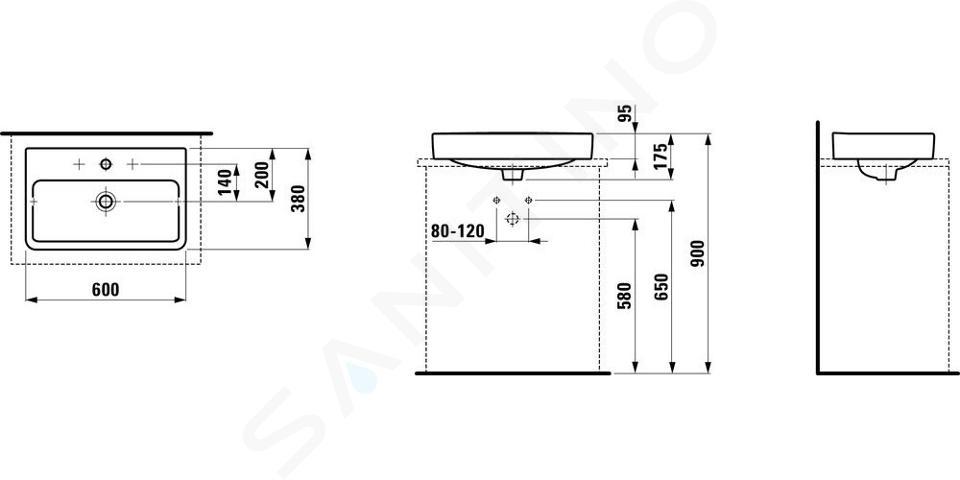 Laufen Pro S - Umyvadlo, 600x380 mm, 1 otvor pro baterii, bez přepadu, bílá H8129530001561