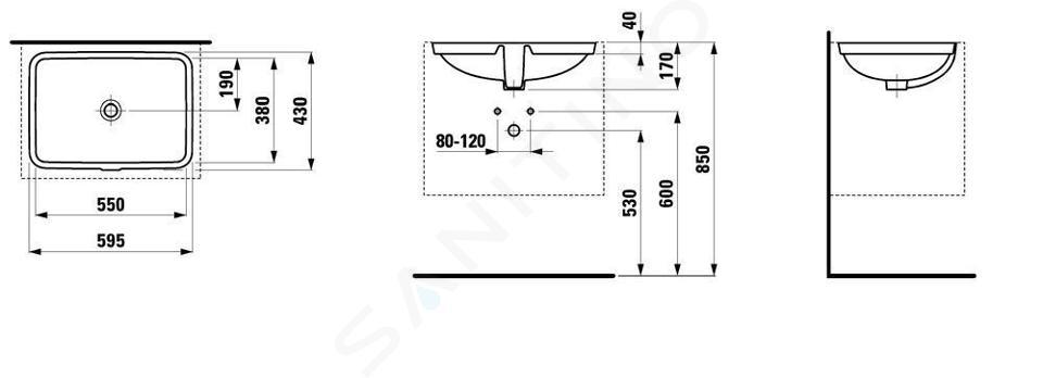 Laufen Pro S - Umyvadlo, 550x380 mm, bez otvoru pro baterii, bílá H8119680001091