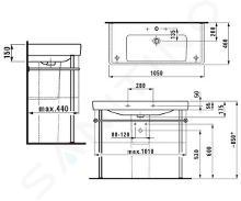 Laufen Pro S - Umyvadlo, 1050x460 mm, 1 otvor pro baterii, s LCC, bílá H8169664001041