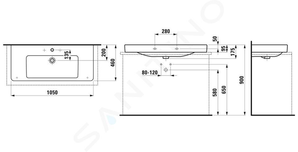 Laufen Pro S - Umyvadlo, 1050x460 mm, 3 otvory pro baterii, s LCC, bílá H8169664001081