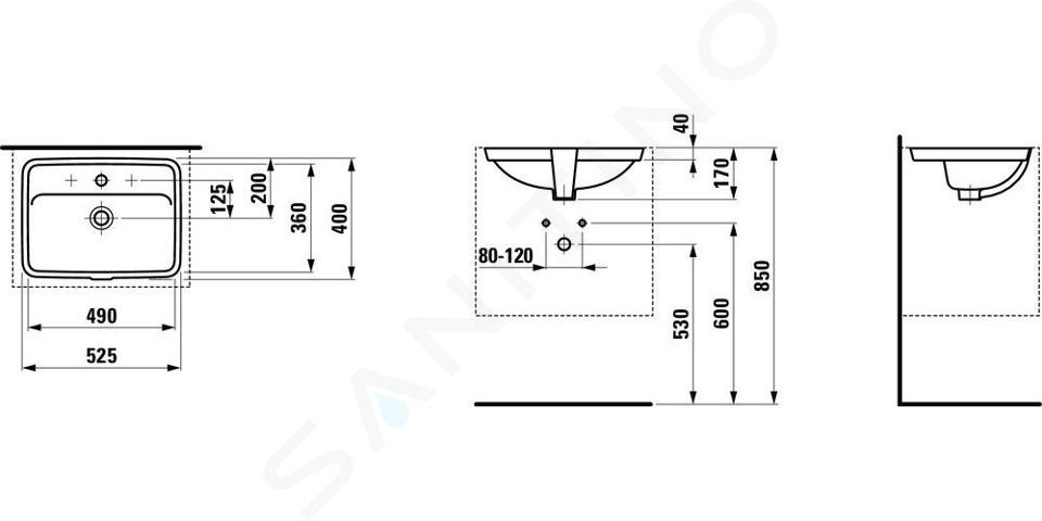 Laufen Pro S - Umyvadlo, 490x360 mm, bez otvoru pro baterii, s LCC, bílá H8119664001091