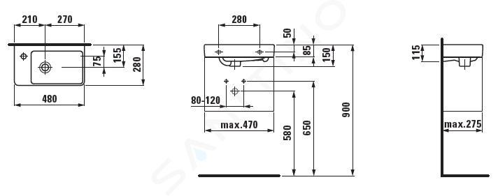 Laufen Pro S - Umývátko, 480x280 mm, 1 otvor pro baterii vlevo, bílá H8159550001041