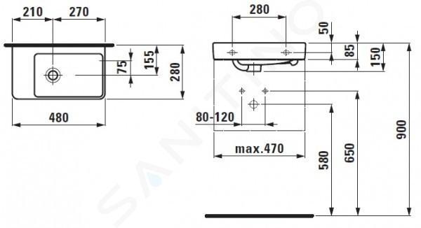 Laufen Pro S - Umývátko, 480x280 mm, bez otvoru pro baterii, bílá H8159550001091