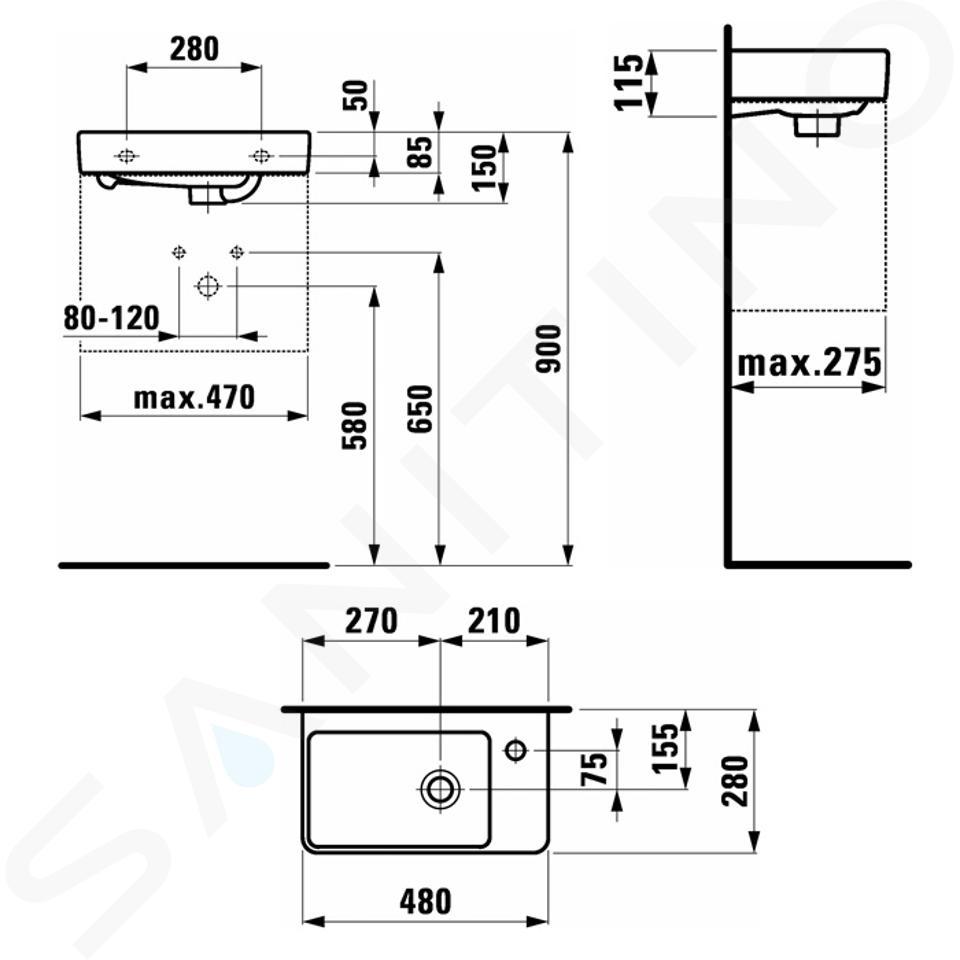 Laufen Pro S - Umývátko, 480x280 mm, 1 otvor pro baterii vpravo, bílá H8159540001041