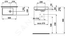 Laufen Pro S - Umývátko, 480x280 mm, bez otvoru pro baterii, bílá H8159540001091