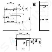 Laufen Pro S - Umývátko, 480x280 mm, 1 otvor pro baterii vpravo, s LCC, bílá H8159544001041