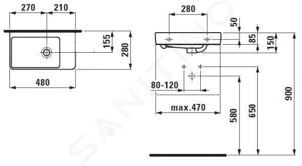 Laufen Pro S - Umývátko, 480x280 mm, bez otvoru pro baterii, s LCC, bílá H8159544001091