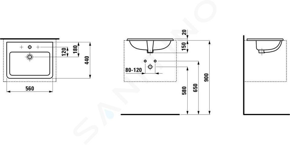 Laufen Pro S - Zápustné umyvadlo, 560x440 mm, 3 otvory pro baterii, bílá H8189630001081