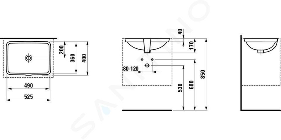 Laufen Pro S - Umyvadlo, 490x360 mm, bez otvoru pro baterii, s LCC, bílá H8119604001091