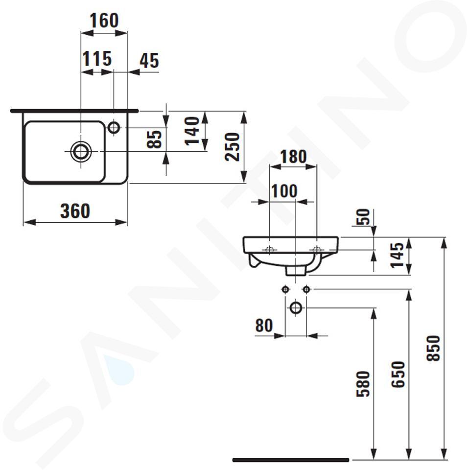 Laufen Pro S - Umývátko, 360x250 mm, 1 otvor pro baterii, bílá H8159600001041