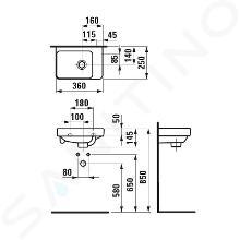 Laufen Pro S - Umývátko, 360x250 mm, bez otvoru pro baterii, s LCC, bílá H8159604001091