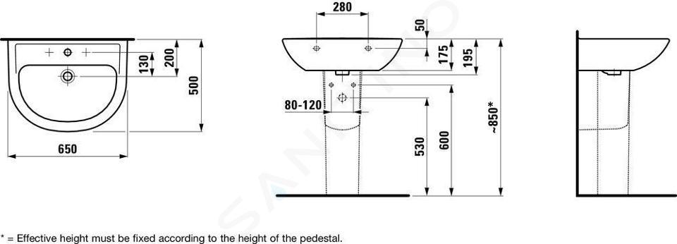 Laufen Pro - Umyvadlo, 650x500 mm, 1 otvor pro baterii, bez přepadu, bílá H8109530001561