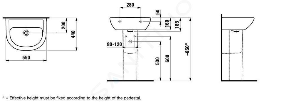Laufen Pro - Umyvadlo, 550x440 mm, bez otvoru pro baterii, bez přepadu, bílá H8109510001421
