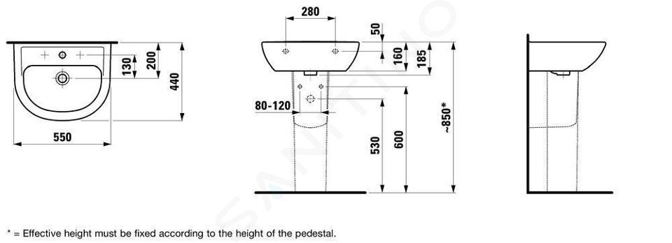 Laufen Pro - Umyvadlo, 550x440 mm, 1 otvor pro baterii, bez přepadu, bílá H8109510001561