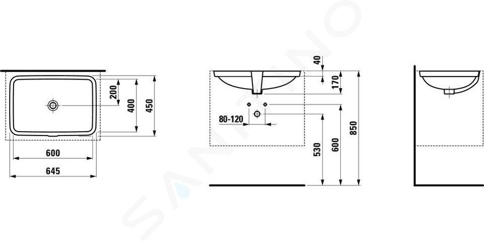 Laufen Pro S - Umyvadlo, 600x400 mm, bez otvoru pro baterii, bílá H8119690001091