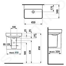 Laufen Pro S - Umývátko, 450x340 mm, bez otvoru pro baterii, bílá H8159610001091