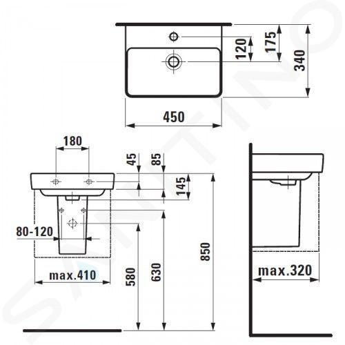 Laufen Pro S - Umývátko, 450x340 mm, 1 otvor pro baterii, bez přepadu, bílá H8159610001561