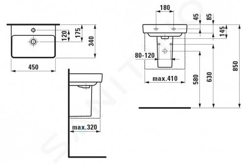 Laufen Pro S - Umývátko, 450x340 mm, 1 otvor pro baterii, s LCC, bílá H8159614001041