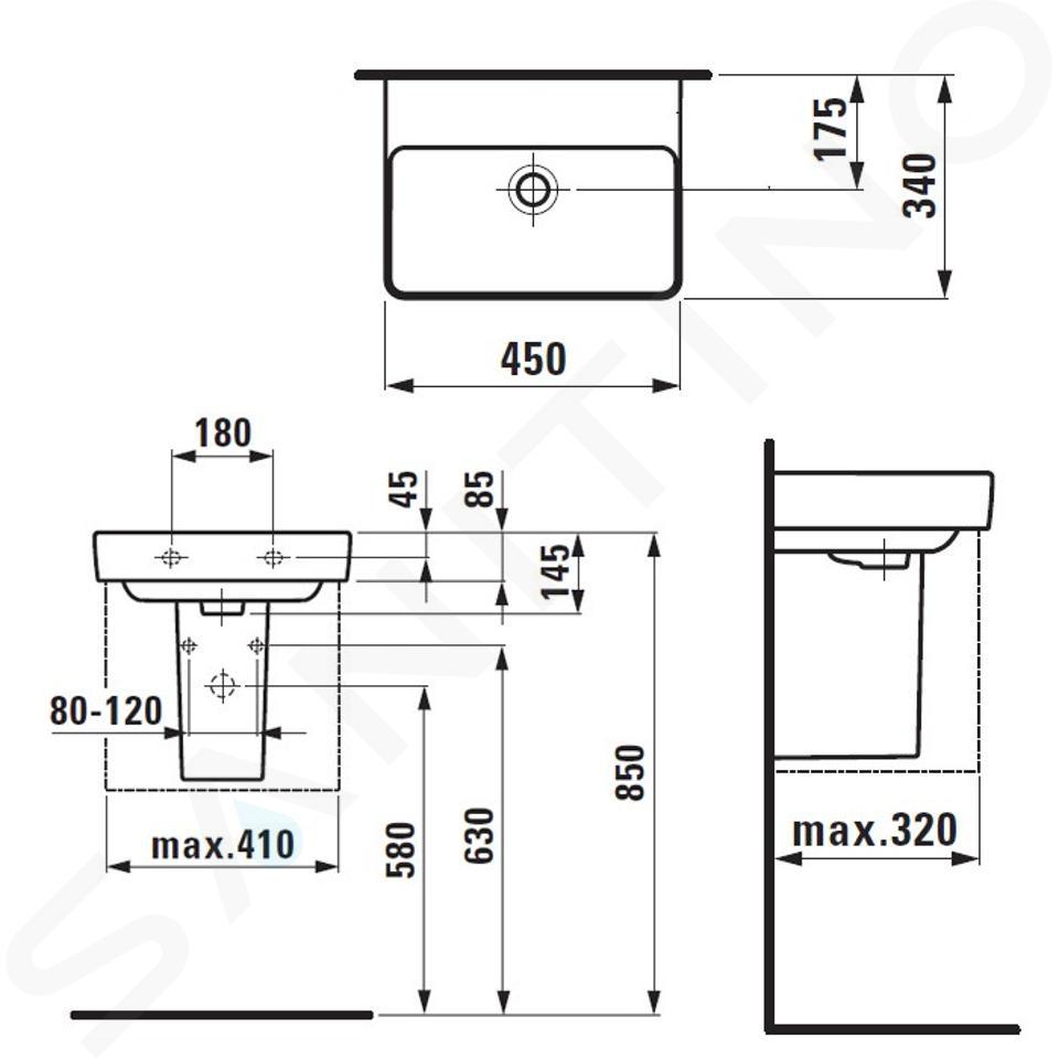 Laufen Pro S - Umývátko, 450x340 mm, bez otvoru pro baterii, s LCC bílá H8159614001091