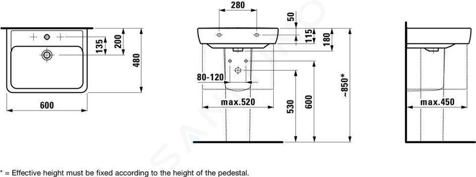 Laufen Pro - Umyvadlo, 600x480 mm, 1 otvor pro baterii, s LCC, bílá H8189524001041