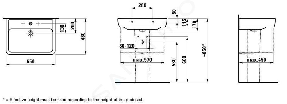 Laufen Pro - Umyvadlo, 650x480 mm, 1 otvor pro baterii, s LCC, bílá H8189534001041