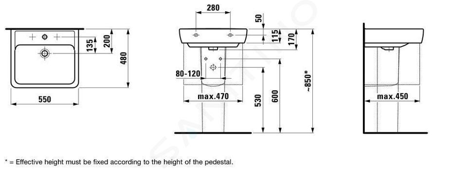 Laufen Pro - Umyvadlo, 550x480 mm, 1 otvor pro baterii, bílá H8189510001041