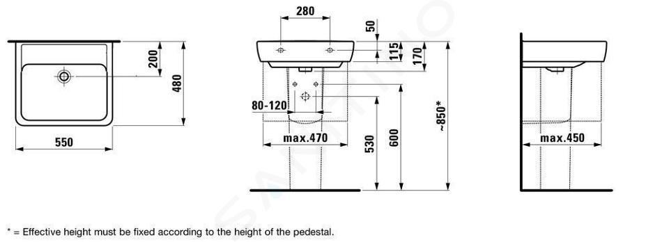 Laufen Pro - Umyvadlo, 550x480 mm, bez otvoru pro baterii, bílá H8189510001091