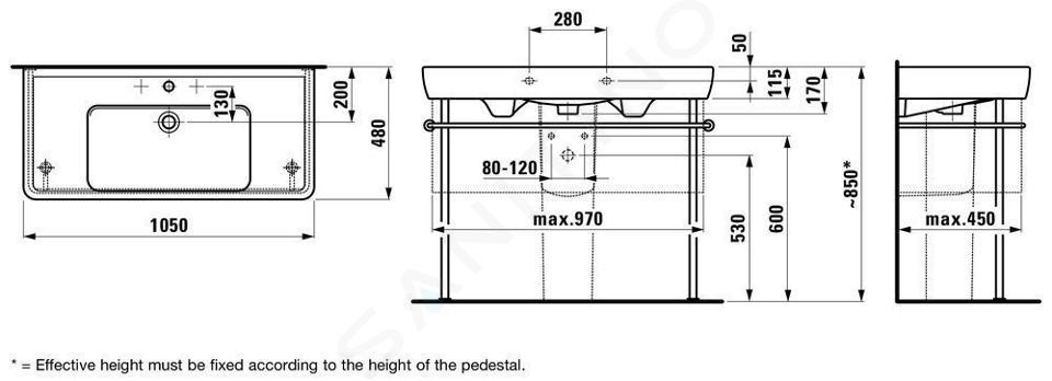 Laufen Pro - Umyvadlo, 1050x480 mm, 1 otvor pro baterii, s LCC, bílá H8139584001041