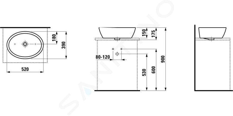 Laufen Pro - Umyvadlová mísa, 520x390 mm, bez otvoru pro baterii, bílá H8129640001091