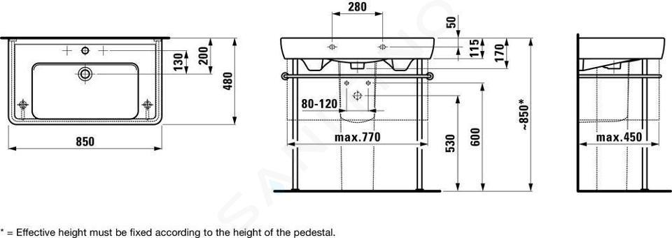 Laufen Pro - Umyvadlo, 850x480 mm, 1 otvor pro baterii, s LCC, bílá H8139564001041