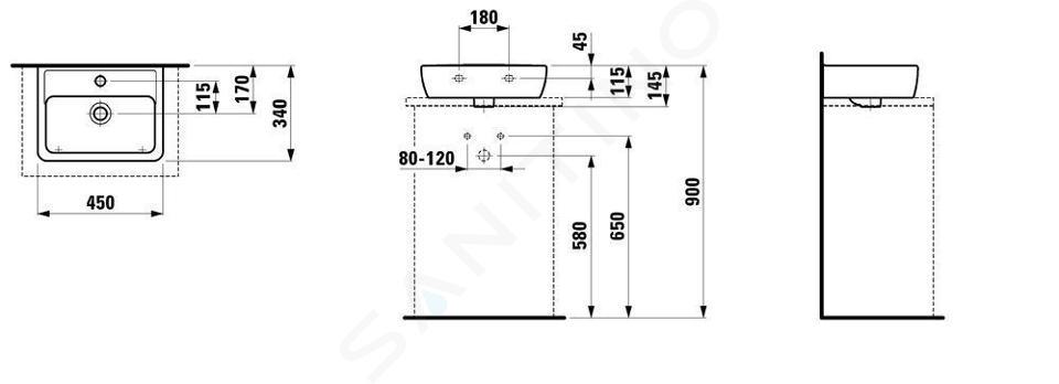 Laufen Pro - Umývátko, 450x340 mm, 1 otvor pro baterii, bílá H8119520001041