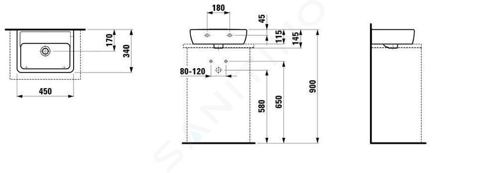 Laufen Pro - Umývátko, 450x340 mm, bez otvoru pro baterii, bílá H8119520001091