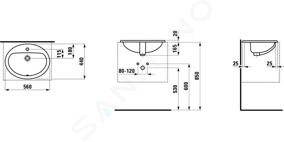 Laufen Pro - Lavabo encastré, 560x440 mm, 1 trou pour robinetterie, blanc H8139510001041