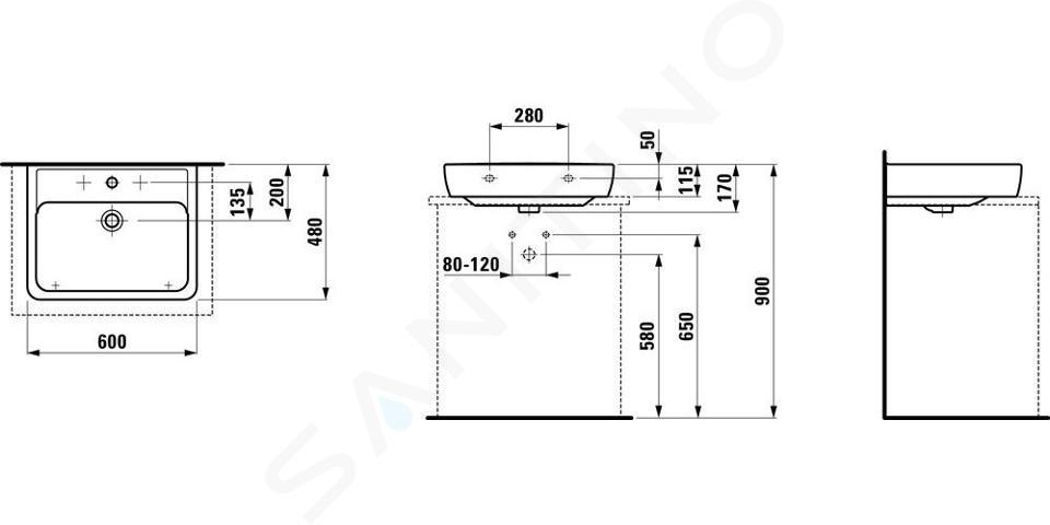 Laufen Pro - Umyvadlo, 600x480 mm, 1 otvor pro baterii, s LCC, bílá H8179524001041